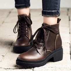 MIAOLV - Block Heel Lace-Up Ankle Boots