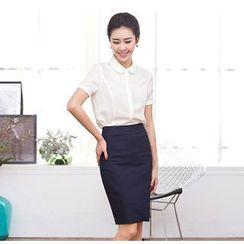 Aision - Short-Sleeve Shirt / Pencil Skirt