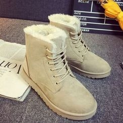 EMIL - Fleece Lace Up Short Boots