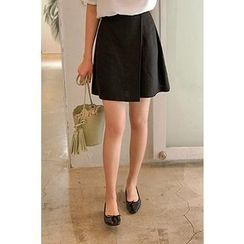 CHERRYKOKO - Linen Blend A-Line Mini Wrap Skirt