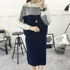 AGA - Set: Color Block Sweater + Skirt