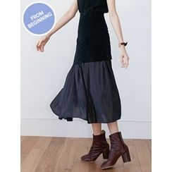 FROMBEGINNING - Layered A-Line Long Skirt