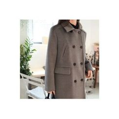 CHERRYKOKO - Collared Double-Breasted Wool Blend Coat