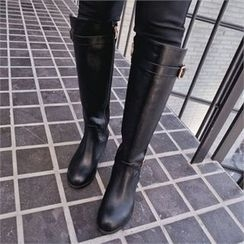 Styleberry - Buckled Two-Tone Long Boots