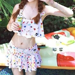 DJ Design - Set: Print Bikini Top + Swim Skirt