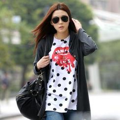 SO Central - Short-Sleeve Dotted Lip Print Top