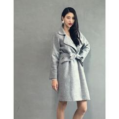 GUMZZI - Wool Blend Tied-Waist Coat