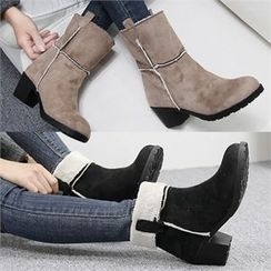 Reneve - Chunky-Heel Faux-Shearling Short Boots