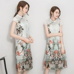 la nuit - Set: Floral Print Linen Cotton Cheongsam + Strap Dress