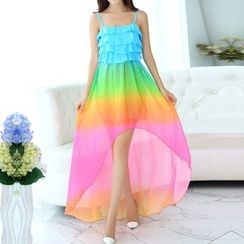 Isadora - Gradient Spaghetti Strap Dip Back Chiffon Dress