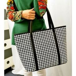 Bags 'n Sacks - Faux-Leather Houndstooth Print Tote