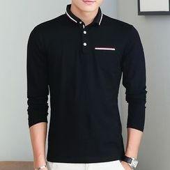 Fesso - Striped Trim Polo Shirt