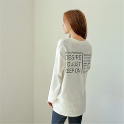 Styleberry - Lettering Dip-Back T-Shirt