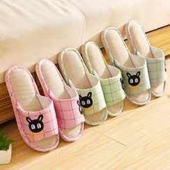 四季美 - 刺繡格子拖鞋