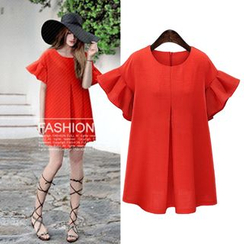 VIZZI - Ruffle Short-Sleeve Dress