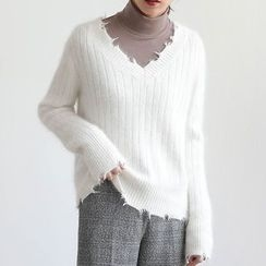 ELLY - 做旧V领毛衣