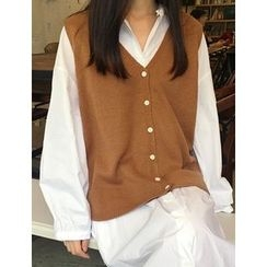 FROMBEGINNING - V-Neck Sleeveless Cardigan