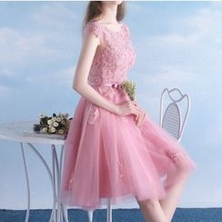 MSSBridal - Lace Appliqué Cap Sleeve Short Prom Dress