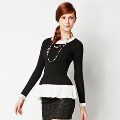 O.SA - Contrast-Trim Peplum Knit Top
