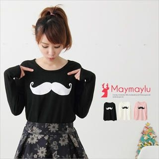 Maymaylu Dreams - Mustache-Print Long T-Shirt