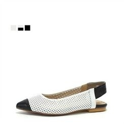 MODELSIS - Genuine Leather Perforated Sling-Back Flats