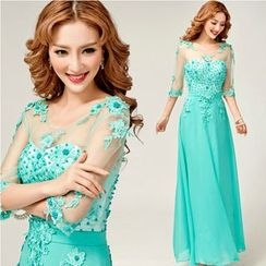 Gracia - Elbow-Sleeve Lace Evening Gown