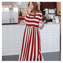 Cherryville - Long-Sleeve Stripe Long Dress