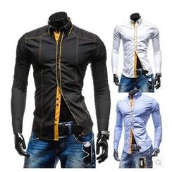 Hansel - Contrast Trim Long-Sleeve Shirt