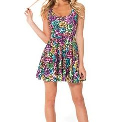 Omifa - Sleeveless Printed A-Line Dress