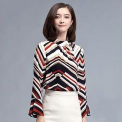 Sentubila - Striped Bell-Sleeve Chiffon Blouse