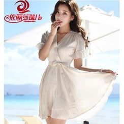 Elisa Rachel - V-neck Short-Sleeve Chiffon Dress