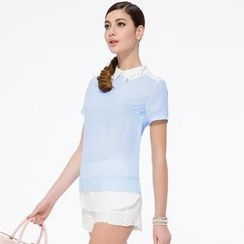 O.SA - Short-Sleeve Jeweled-Collar Panel Blouse