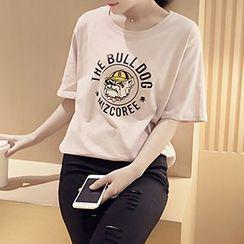 Shimi - Bulldog Print Crewneck T-Shirt