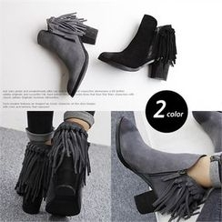 Reneve - Chunky-Heel Fringed Genuine-Leather Ankle Boots