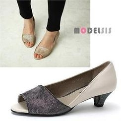MODELSIS - Glitter-Trim Open-Toe Pumps