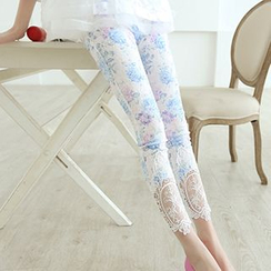 Lavogo - Floral Print Lace Trim Cropped Leggings