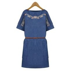 GRACI - Elbow-Sleeve Denim Embroidered Dress