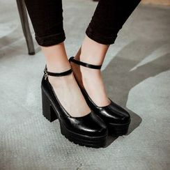 Pangmama - Faux-Leather Chunky-Heel Pumps