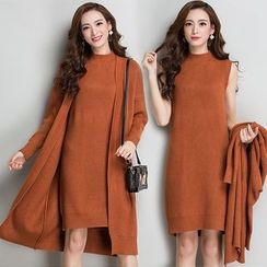 Vigoroso - 套装: 罗纹长款开胸外套 + 小高领针织背心裙