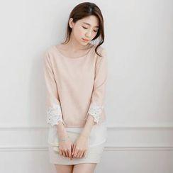 Tokyo Fashion - Lace-Cuff Contrast Chiffon-Hem Top