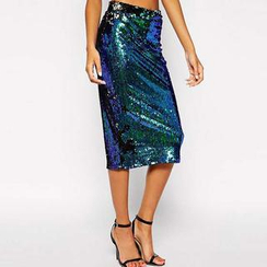 Richcoco - Sequined Midi Skirt