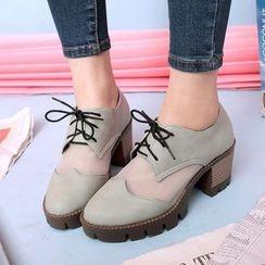 Sidewalk - Mesh Panel Block Heel Lace-Up Shoes