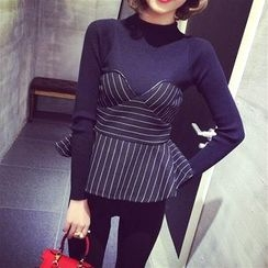 Anlay - Panel Striped Ruffle Slim-Fit Long-Sleeve Knit Top