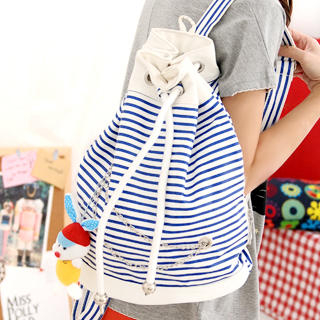 Drawcord Closure Striped Backpack