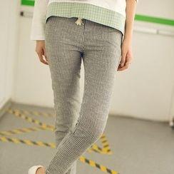 微米家 - 抽绳条纹修身裤