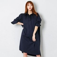 FASHION DIVA - Dip-Back Cotton Shirtdress