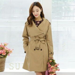 SUVINSHOP - Wide-Collar Trench Coat with Belt