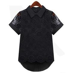 米兰阁 - 长尾蕾丝衬衫