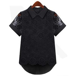 Eloqueen - Eyelet Lace Overlay Blouse