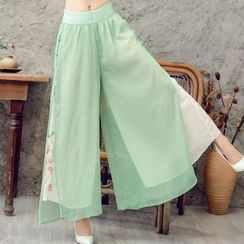 Diosa - Embroidered Cropped Wide Leg Pants